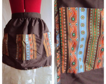 SALE Paisley Pockets Brown and Orange Apron