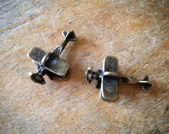 Airplane Bronze Vintage Style Plane Planes Airplanes Pendant Charm Jewelry Supplies (BC138)