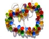 SUPPLY: 40 Mixed Color Glass Beads - Handcrafted Beads - Colorful Glass Drops - Glass Charms - Lamp Work - (5-B3-00003503)