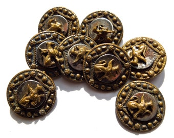 ANTIQUE: 8 Victorian Metal Buttons - 15mm