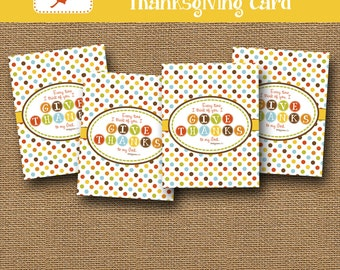 Printable Thanksgiving Cards | DIY PRINTABLE | Scripture, Bible Verse, Christian Thanksgiving | Printable Give Thanks Card | Philippians 1:3