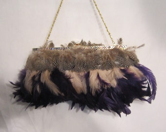 80's Vintage Feather Evening Bag