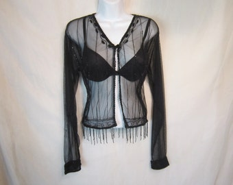 Beaded Black Evening Sheer Top, Sparkles in Light.