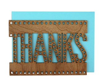 Real Walnut Wood Laser Cut Marquee Card - Thanks