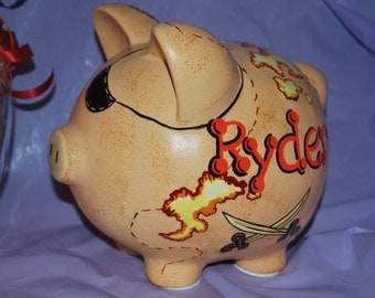Personalized Pirate LARGE Piggy Bank