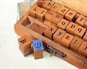 Wooden Rubber Stamp Set - Vintage Alphabet Stamp Set - Rubber Stamps - Lowerrcase - 30 Pieces