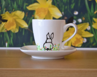 Beautiful espresso cup with little bunnies (rabbit)