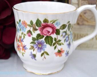 ON SALE Royal Albert Floral Mug, English Bone China Coffee Mug, Birthday Gift, ca. 1960-1970