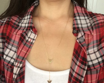 Gold Y Lariat Drop Triangle Necklace also in Silver and Rose Gold