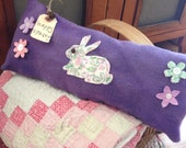 Happy Spring~ Primitive Pillow Tuck~ Easter bunny~ Primitive Easter~pillow tuck~ hand dyed wool and vintage quilt~ purple~ flowers