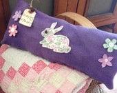 Happy Spring~ Primitive Pillow Tuck~ Easter bunny~ Primitive Easter~pillow tuck~ hand dyed wool and vintage quilt~ purple~ flowers