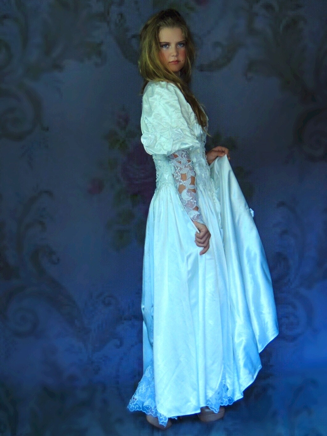 Vintage satin lace wedding dress romantic gothic Victorian