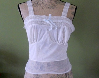Vintage Lace Camisole White with Pale Blue Size 34 Bust Luxite Small XS Vintage Lingerie