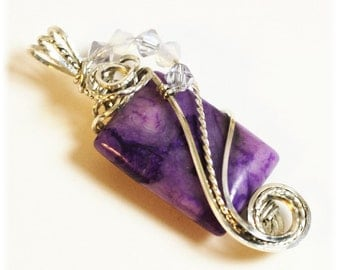Purple Agate / Pendant / Agate Jewelry / Wire Wrapped Agate / Sterling Silver