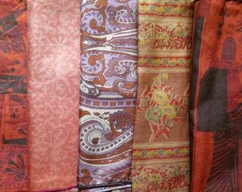 Silk Fat Quarters, Silk Fabric, Sari Silk FQ 124
