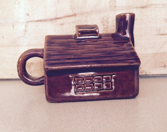 Vintage Syrup Pitcher Ceramic Log Cabin Brown Log Cabin Pitcher Creamer Small Brown Cabin Shaped Pitcher One Piece Serving