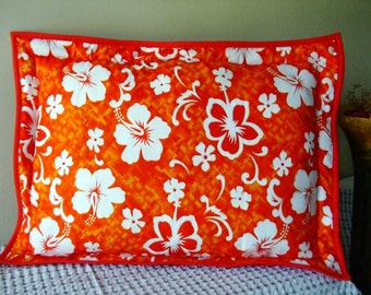 Cat Dog Pillow Bed Orange Hibiscus Small Crate Pillow
