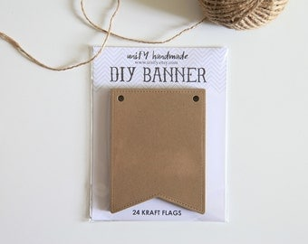 DIY Kraft Banner Kit /  Wedding / Party Decor / 24 pcs