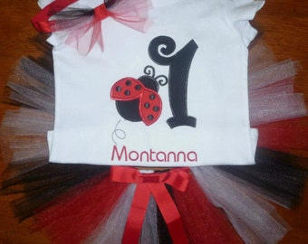 personalised ladybuy first birthday tutu set