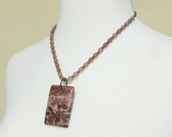 Red Apache Jasper Stone Pendant, with complimentary czech beads and gunmetal chain