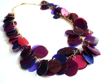 Plum necklace made of recycled plastic bottles purple statement necklace upcycled jewelry recycled necklace sustainable jewelry