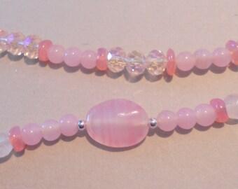 Pink Rose Quartz and Crystal Handmade Necklace