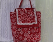 Lunch Bag Red and White Handy Small Tote Upcycled Bag Again