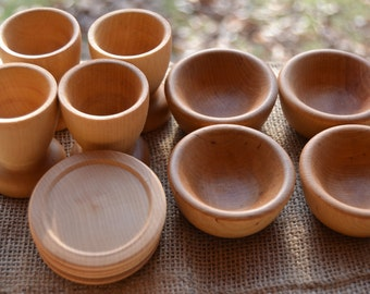Wooden Play Dish Set - Wooden Bowls, Plates and Cups for the Waldorf Inspired Play Kitchen