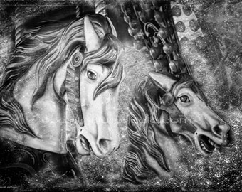 Dark Night Surreal Carnival Carousel Horses Black and White Fine Art Photography Print or Gallery Canvas Wrap Giclee