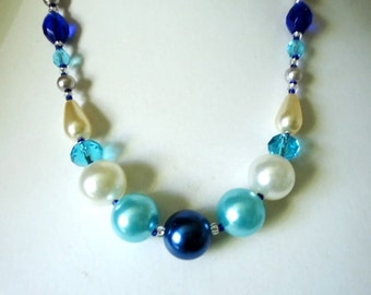 Dark Blue Turquoise Blue and White Large Pearl and Glass Crystal Necklace app 18 inches Ladies Jewellery Gifts for her