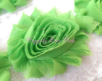 1 YaRd, Lime Shabby Flower Trim, Chiffon Rosettes, Headband Flower, Wholesale, DIY, Newborn Headband, Wholesale