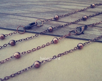 20pcs 70cm Antique copper red  bead chain (copper) with lobster clasp 4mm