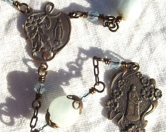 St. Anne Chaplet Rosary with Aquamarine Heirloom Wire Wrapped Catholic