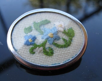 Sweet floral embroidered brooch ~ silvered frame