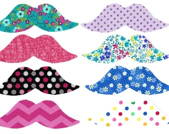 Girl mustache iron on appliques DIY