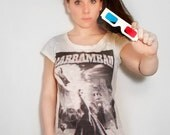 Burnout cotton tshirt real 3D collage big humour print and 3D glasses included skinny fit and scoop neck