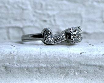 Vintage Palladium Diamond Engagement Ring.
