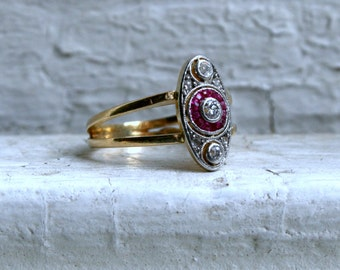 Art Deco Vintage 18K Yellow Gold/ Platinum Diamond and Ruby Engagement Ring.