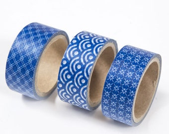 20mm Wide Washi Paper Tape in Classic Blue Japanese Patterns