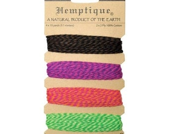 Fiesta Sampler of Cotton Bakers Twine 4 colors - 120 Feet - Natural and Eco-Friendly