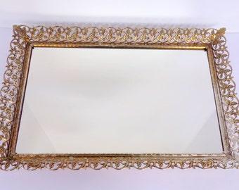 Large Vanity Tray Gold Filigree Hollywood Regency Ormolu