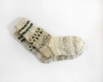 Hand Knitted Dog Wool Socks - Brown,Beige, Grey - Large