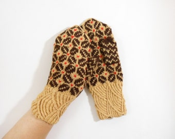 Hand Knitted Wool Mittens - Light and Dark Brown, Size Medium