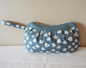 Buttercup Zipper Clutch Bag Purse, Pouch, Cosmetic Bag, Makeup Bag, Clutch, Buttercup Bag, blue, brown, white flowers, country