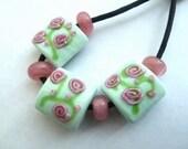 handmade lampwork glass beads, pink roses