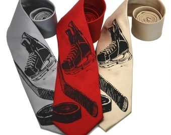 Hockey silkscreen neckties. Microfiber screen printed hockey tie silver ink.