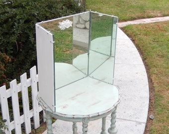 Vintage Vanity Mirror - Three Way Mirror - Shabby Vanity Mirror - Three Sided Mirror - Pick Up or Delivery ONLY