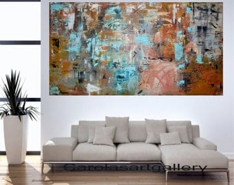 "Original Abstract Painting  Large Painting Palette Knife Acrylic Painting  Modern Art Handmade by Carola, 48""x24"""