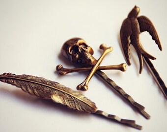 tattoo bobby pin set, skull bobby pin, sparrow bobby pin, feather bobby pin, feather hairpins, bird hairpin, unique bobby pins