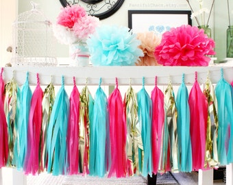 Turquoise, Hot Pink, Gold Tissue Paper Tassel Garland- Wedding, Birthday, Bridal Shower, Baby Shower, Party Decorations